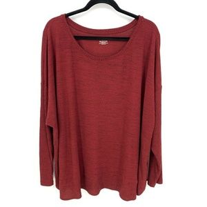 LaneBryant Heather Red Ribbed Long Sleeve Pullover